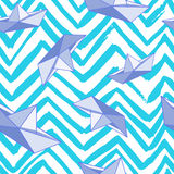 Abstract pattern with paper boat and zigzag lines Royalty Free Stock Photography