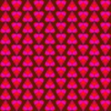 Abstract pattern of pink and red shimmering hearts and stripes stock illustration
