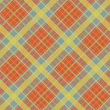 Abstract Pattern with Plaid Fabric on a bright orange background. Seamless vector illustration Stock Photos