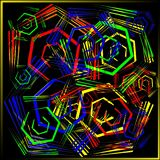Abstract pattern of polygons in neon style. A lot of geometric shapes in chaotic order Stock Images