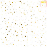 Abstract pattern of random falling gold and silver stars on whit. E background. Glitter pattern for banner, greeting card, Christmas and New Year card Royalty Free Stock Images