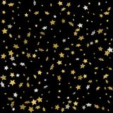 Abstract pattern of random falling gold stars on black backgroun. D. Glitter pattern for banner, greeting card, Christmas and New Year card, invitation, postcard Royalty Free Stock Image