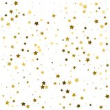 Abstract pattern of random falling gold stars on white backgroun. D. Glitter template for banner, greeting card, Christmas and New Year card, invitation Royalty Free Stock Photography