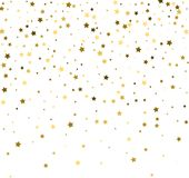Abstract pattern of random falling gold stars on white backgroun. D. Glitter pattern for banner, greeting card, Christmas and New Year card, invitation, postcard Stock Photography
