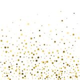 Abstract pattern of random falling gold stars on white backgroun. D. Glitter pattern for banner, greeting card, Christmas and New Year card, invitation, postcard Royalty Free Stock Image