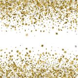 Abstract pattern of random falling gold stars on white backgroun. D. Glitter template for banner, greeting card, Christmas and New Year card, invitation Stock Photo