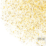 Abstract pattern of random falling gold stars on white Royalty Free Stock Photo