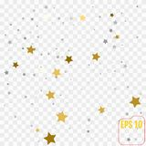 Abstract pattern of random falling golden and silver stars on wh. Ite background. Elegant pattern for banner, greeting card, Christmas and New Year card Royalty Free Stock Image