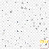 Abstract pattern of random falling silver stars on transparent background royalty free illustration