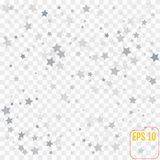 Abstract pattern of random falling silver stars on transparent. Background. Elegant pattern for banner, greeting card, Christmas and New Year card, invitation stock illustration