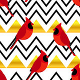 Abstract pattern with red cardinal and gold triangles. Ornament for  textiles and wrapping. Vector Royalty Free Stock Photos