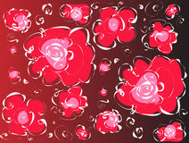 Abstract pattern with red flowers Royalty Free Stock Photos