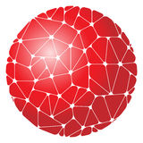 Abstract pattern of red geometric elements grouped in a circle. Vector illustration Stock Photo