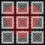 Abstract pattern. Red heart on a black background. Metal effect. Vector. stock photography