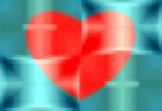Abstract pattern. Red heart on a blue background. Pixel art. Vector. stock photos