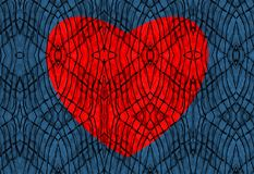 Abstract pattern. Red heart in the lace of networks on a blue. royalty free stock photo