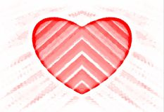Abstract pattern. Red striped heart on a white background. Vector. royalty free stock photography