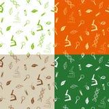 Abstract pattern school biology flask microscope magnifier leaf green beige orange seamless illustration Stock Image