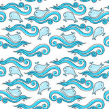 Abstract pattern. Seamless abstract pattern with waves and whales Stock Photo