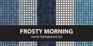 Abstract pattern set Frosty Morning, blue colors. Vector seamles Stock Photos