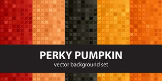 Abstract pattern set Perky Pumpkin. Vector seamless backgrounds. Red, peach, black, orange, pumpkin shapes on gradient backdrops royalty free illustration