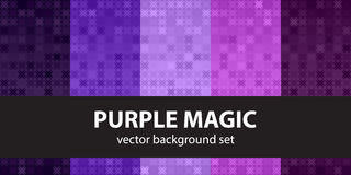 Abstract pattern set Purple Magic. Vector seamless backgrounds. Amethyst, lavender, plum, purple, violet ornaments on gradient backdrops royalty free illustration