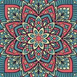 Abstract pattern for shawl. Oriental colorful pattern of mandala. Vector ornament with abstract elements. Template for textile, carpet, shawl Stock Image