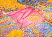 Abstract pattern on silk stock photo