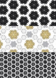 Abstract pattern with star shapes. Black, grey and yellow abstract seamless wallpaper Royalty Free Stock Image