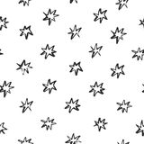 Abstract pattern with stars drawn in brush style on white background. Perfect for textile, blog decoration, banner, poster, wrappi Stock Image
