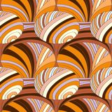 Abstract pattern of striped parts with colored lines and waves. Vector image in bright and contrasting orange colors Stock Images