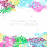Abstract pattern of a tattoo henna. Vector abstract ethnic background with henna patterns. Stock watercolor illustration for design stock illustration