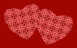 Abstract pattern of two hearts on a red background. Vector. royalty free stock photos