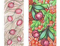 Abstract pattern whis berries cherries and gooseberries Royalty Free Stock Images
