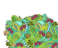 Abstract pattern whis green leavs Stock Image