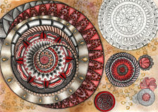 Abstract pattern whis spiral. Abstract decorative spiral on aquarelle background Stock Photography