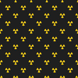 Abstract pattern. Yellow marks of radiation on a black background. Irradiation. Dangerous area. Vector illustration in a flat styl Stock Photos