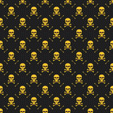 Abstract pattern. Yellow skulls on a black background. Death in the dark. Crossbones. Vector illustration in a flat style. EPS 8 Royalty Free Stock Photo