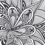 Abstract pattern in Zen-tangle  Zen-doodle style black on white Royalty Free Stock Photo
