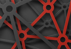 Abstract patterned cobwebs of lines and circles at the intersect. Ion. Technical red-black background for the site or presentation. Vector illustration Stock Photos