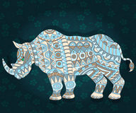 Abstract patterned Rhino on a dark floral background. Illustration with abstract rhino on a dark floral background Stock Images