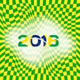 Abstract patterns of color flag of Brazil with inscription 2016. Royalty Free Stock Photo