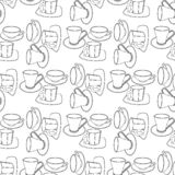 Abstract patterns cups with saucers doodle. Sketch royalty free illustration