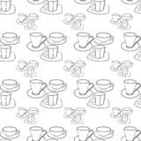 Abstract patterns cups with saucers doodle. Sketch stock illustration