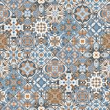 Abstract patterns in the mosaic set. Set of seamless abstract patterns. Colorful tiles background in oriental style. Vector illustration Royalty Free Stock Photography