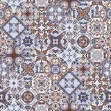 Abstract patterns in the mosaic set. Set of seamless abstract patterns. Colorful tiles background in oriental style. Vector illustration Royalty Free Stock Images