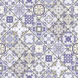Abstract patterns in the mosaic set. Set of seamless abstract patterns. Colorful tiles background in oriental style. Vector illustration Royalty Free Stock Photos