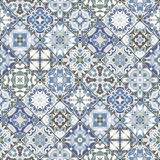 Abstract patterns in the mosaic set. Set of seamless abstract patterns. Colorful tiles background in oriental style. Vector illustration Stock Images