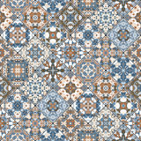 Abstract patterns in the mosaic set. Set of seamless abstract patterns. Colorful tiles background in oriental style. Vector illustration Stock Photos