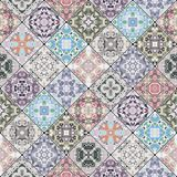 Abstract patterns in the mosaic set. Set of seamless abstract patterns. Colorful tiles background in oriental style. Vector illustration Stock Image